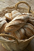 Home-made white loaves in a wicker basket