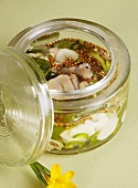 Pickled herring with lemon grass