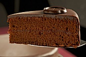 A piece of Sachertorte (chocolate cake) on a cake slice