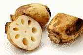 Lotus root, whole and halved
