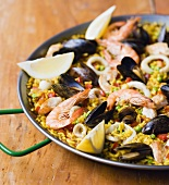 Paella with seafood in a paella pan