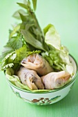 Spring rolls with mince and vegetable filling on salad