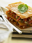 Vegetable lasagne made with filo pastry