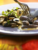 Boeuf Stroganoff with button mushrooms and parsley