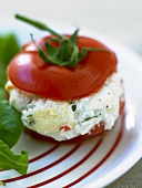 Tomato stuffed with fresh goat cheese