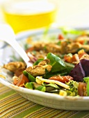 Chicken and vegetable salad with Asian dressing