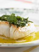 Fried cod with herb vinaigrette