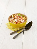Grain salad with mango and prawns