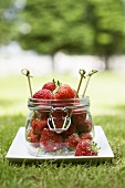 Fresh strawberries with brown sugar and lime