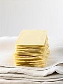 A pile of lasagne sheets