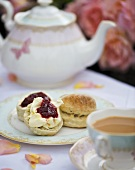 Scones with clotted cream and jam and tea
