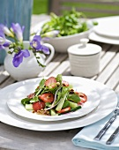 Watercress, cucumber & strawberry salad with honey & mustard dressing