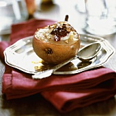 Caramelised pear stuffed with cheese and jam