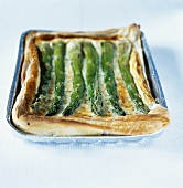 Cheese and asparagus puff pastry tart
