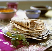 Indian naan bread on a plate