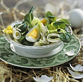 Salad leaves with egg and horseradish for Easter