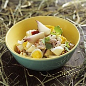 Egg, ham, apple and onion salad