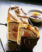 Venison pie in a pie tin