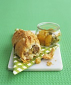 Puff pastry pasty with piccalilli