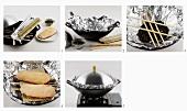 Tea-smoking duck breasts in wok