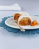 Apricot and chocolate strudel