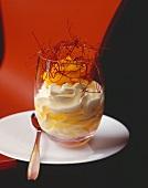 Chilli vanilli (Pineapple with vanilla cream & chilli) in glass