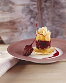Apple and black pudding tower