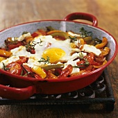 Lecso (stewed peppers) with fried egg