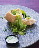 Salmon terrine with mangetout and herb froth