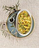 Tagliatelle with savoy cabbage, peanuts and orange sauce