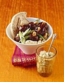 Lamb meatballs with almonds, spring onions and pita bread