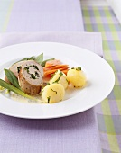 Pork roulade with ramsons (wild garlic) and vegetables
