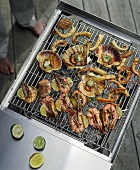 Seafood on a barbecue