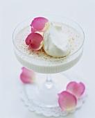 Quark cream with rose water and rose petals