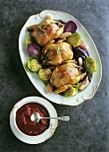 Stuffed quail on cabbage with beetroot puree