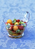 Melon, strawberry and kiwi fruit salad