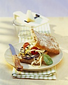 Grilled vegetables and cheese in ciabatta