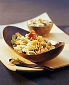 Curried rice with vegetables and sultanas