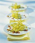 Ahornblüten mit Rosinen auf Joghurtdressing