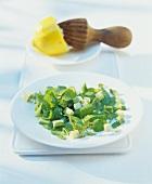 Galinsoga salad with avocado