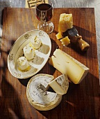 Goat's cheese with oil and a selection of cheeses
