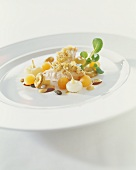Saddle of rabbit with sweet-and-sour pumpkin and mushrooms