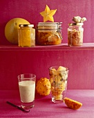 Exotische Früchte: eingemacht, Konfitüre, Drink und gefroren