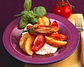 Tomato and nectarine salad with mozzarella