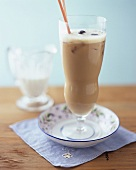 Cold cappuccino with coffee liqueur