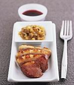 Roast duck breast, sliced