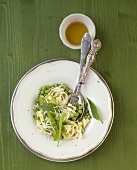 Lime tagliatelle with peas and mangetout