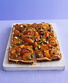 Apricot tart with pistachios