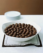 Mousse au chocolat with chocolate balls