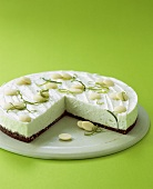 Lime cheesecake with chocolate biscuit base